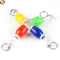 Plastic acrylic transparent led Mini torch light bowling pin keychain