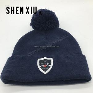 5050e8445 Cheap Wholesale Bulk Knit Bobble Pompom Bennie Hat / Beanies With Custom  Embroidery