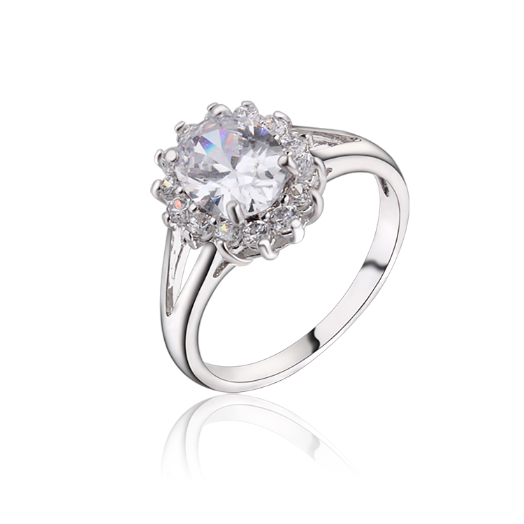 New Platinum Plated Engagement Rings For Women Round Cut