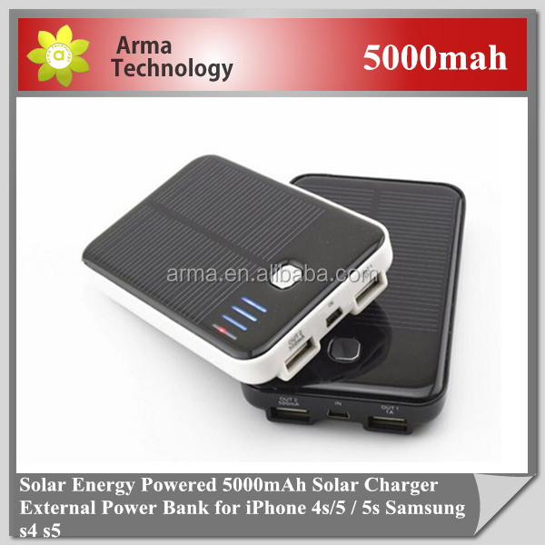 High Quality Portable Solar Charger 5000mAh External Battery Power Bank for iPhone 4/4s 5/5s Sansung S5 S4 S3