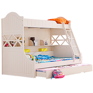 Cheap Sale White Wooden Bunk Beds for Kids with drawer and Ladder
