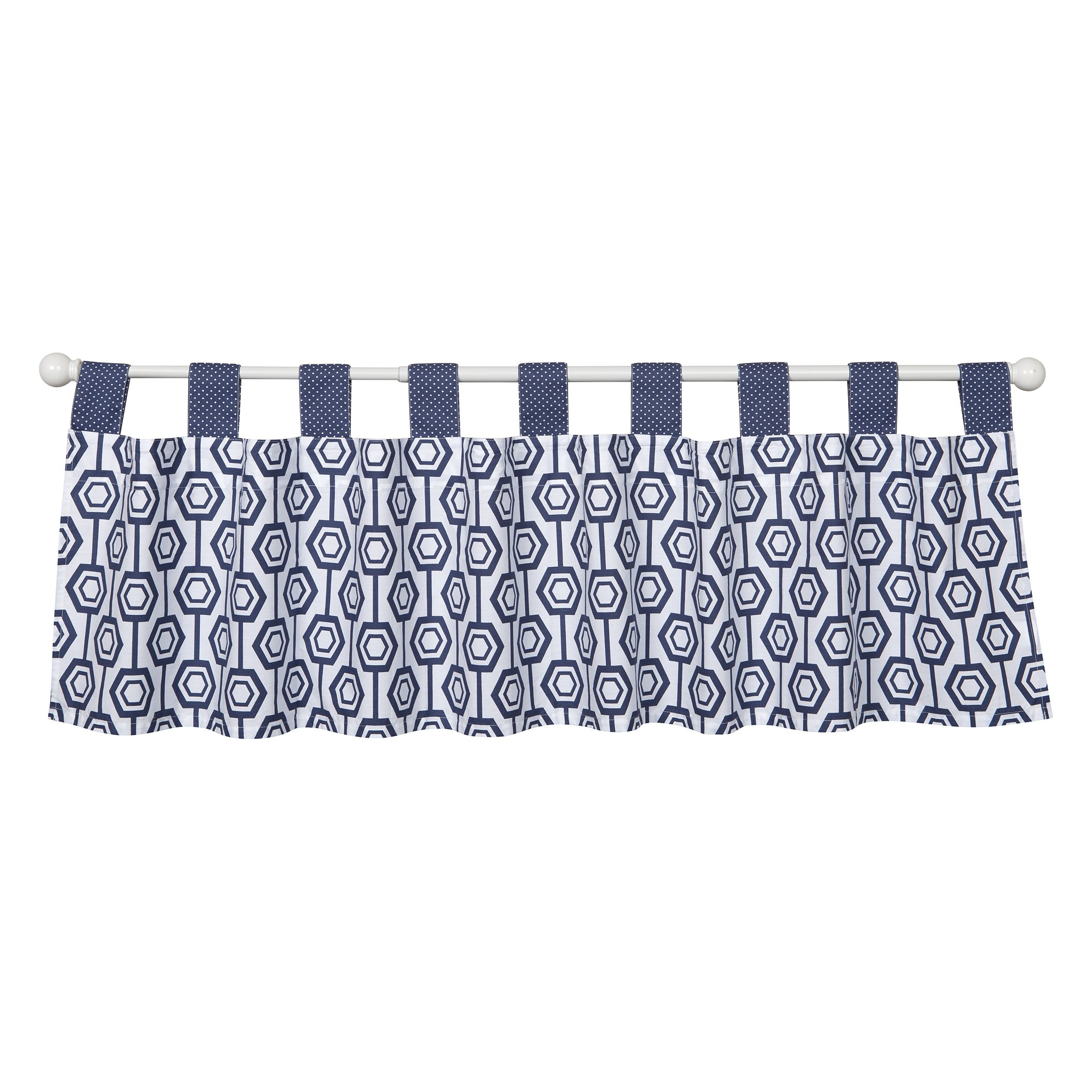navy greek shipping valances valance white today free shaped key garden m home and product pattern overstock