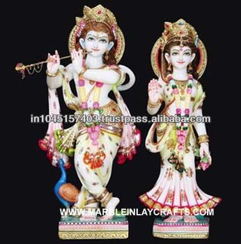 White Marble Radha Krishna Statue Indian Radha Krishna