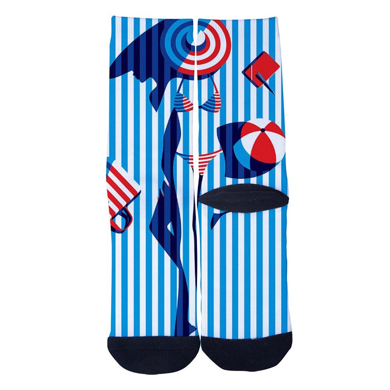 TheFun-Z Custom Colorful Lips Novelty Funny Cartoon Crew Socks Elite Casual Socks