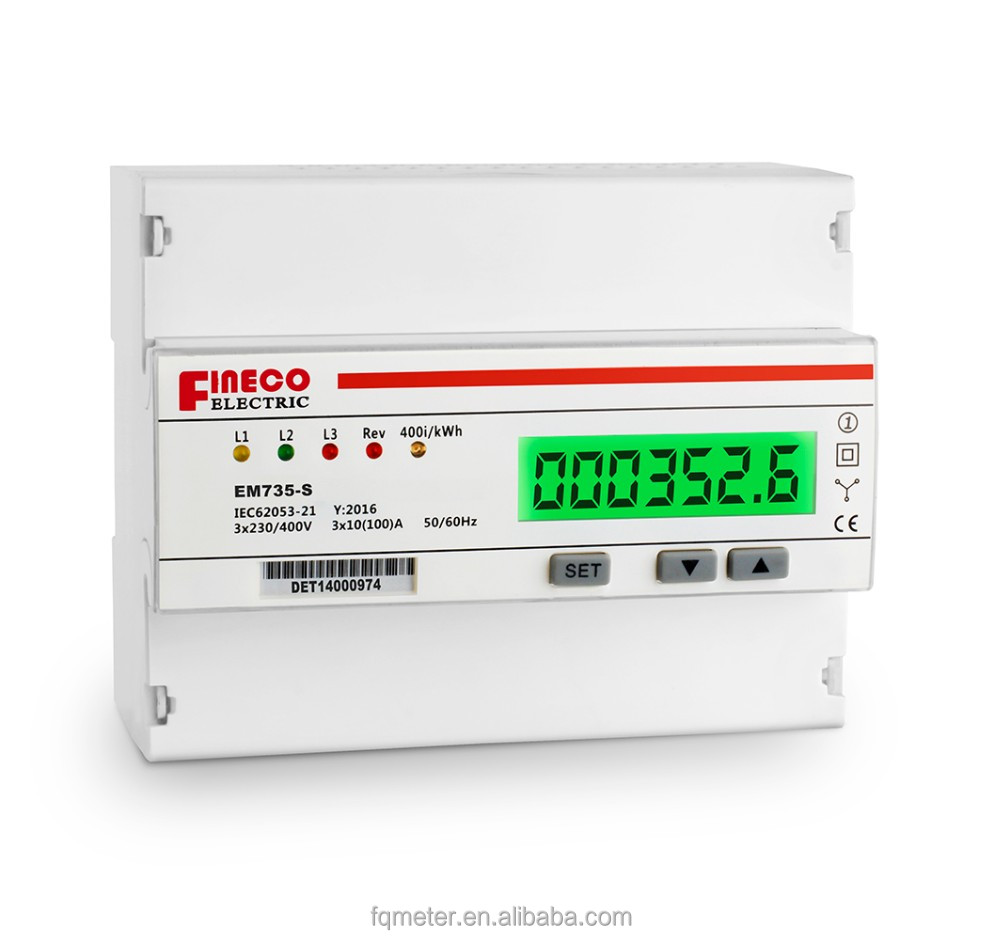 EM735-S 3*230/400V 10(100)A three phase 400v power kwh meter digital 3 phase on din rail watt hour meter with read