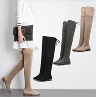 X63689A 2017 Hot Women Boots Winter over knee suede comfort long boots