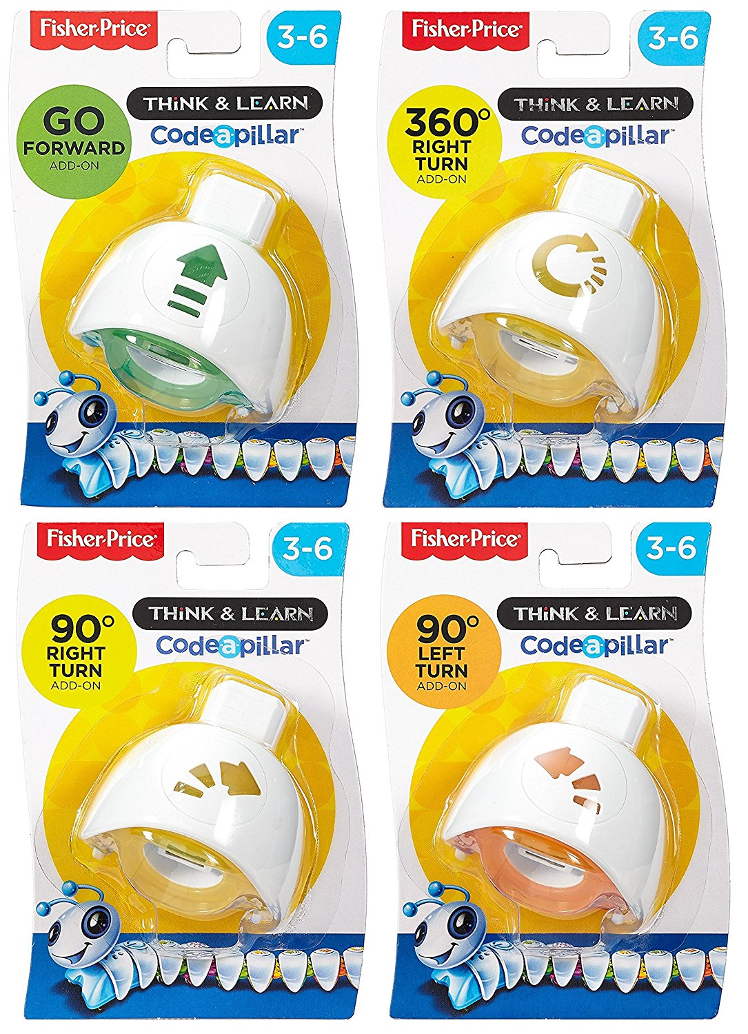 Bundle - 4 items: Fisher-Price Think & Learn Code-a-pillar Go Forward, 360° Right Turn, 90° Left Turn, and 90° Right Turn