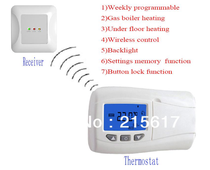 hebdomadaire programmable sans fil num rique thermostat de chauffage par le sol pour chaudi re. Black Bedroom Furniture Sets. Home Design Ideas