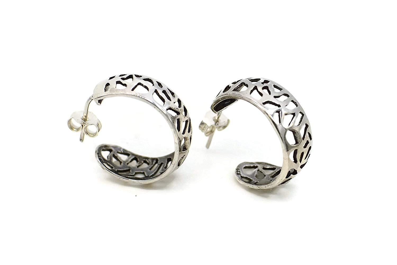Oxidized Sterling Silver 925 unique handmade Earrings,silver 925 unique hoop earrings, moon round vintage earring, Boho earrings, Mandala earrings, Gypsy, Etnhic, Flower mandala, Hippie earrings