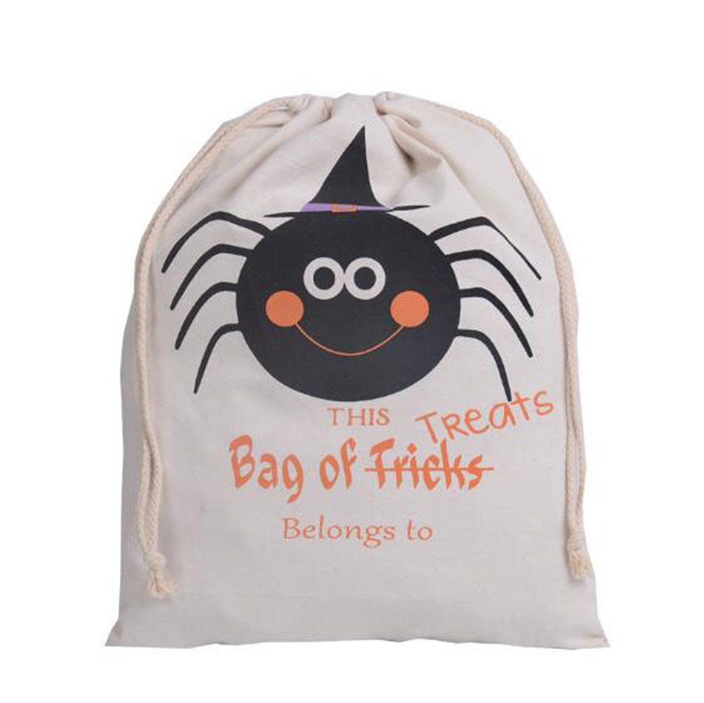 Halloween Canvas Sacks Cotton Personalized Candy Gifts Bag Party Pumpkin Spider Treat or Trick