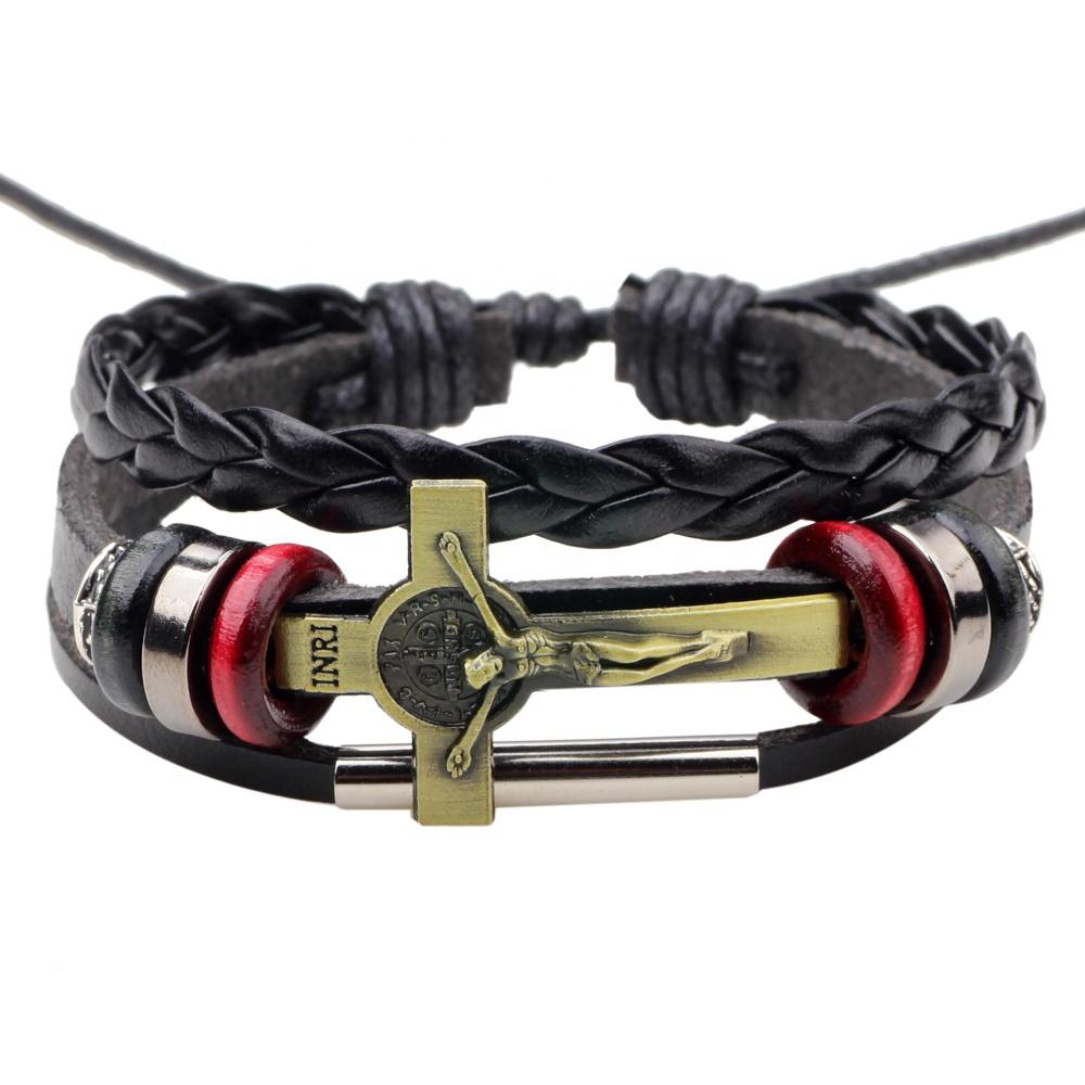 Jesus cross charm lederen armband christian sieraden verstelbare braid lederen armband jesus charm religie lederen armband