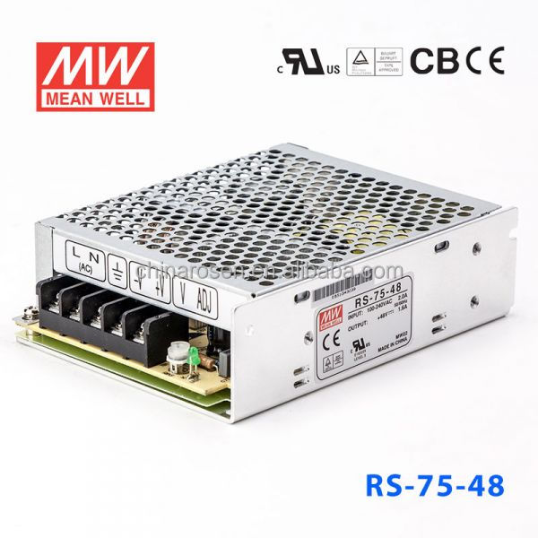 RS-75-48 76.8 W 24 V/1.6A formato Miniatura AC-DC Singolo Meanwell 220 v ac a dc converter power supply
