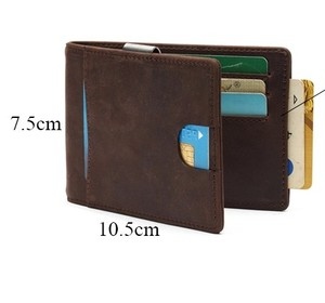 OEM ODM wholesale rfid blocking leather men slim leather thin money clip minimalist custom wallet for men