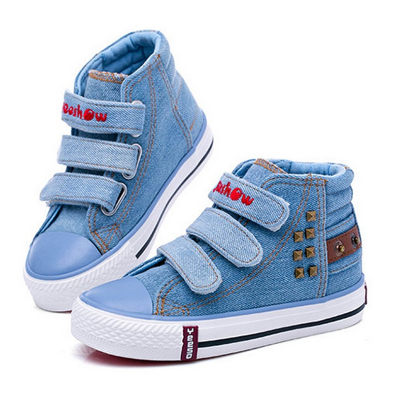 2015 New Autumn Children's Sneakers Fashion Casual Cowboy Breathable Children Canvas Shoes For Girls Boys High Style Kids Sports