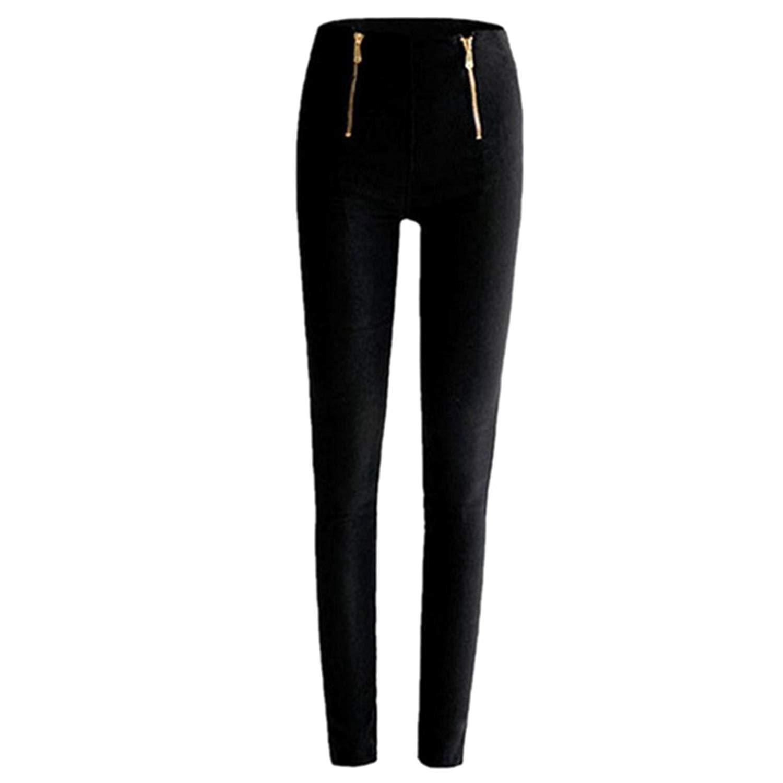 5a2d042f07ab03 Get Quotations · Perman Women High Waisted Slim Stretch Leggings Trousers  Zipper Pencil Pants