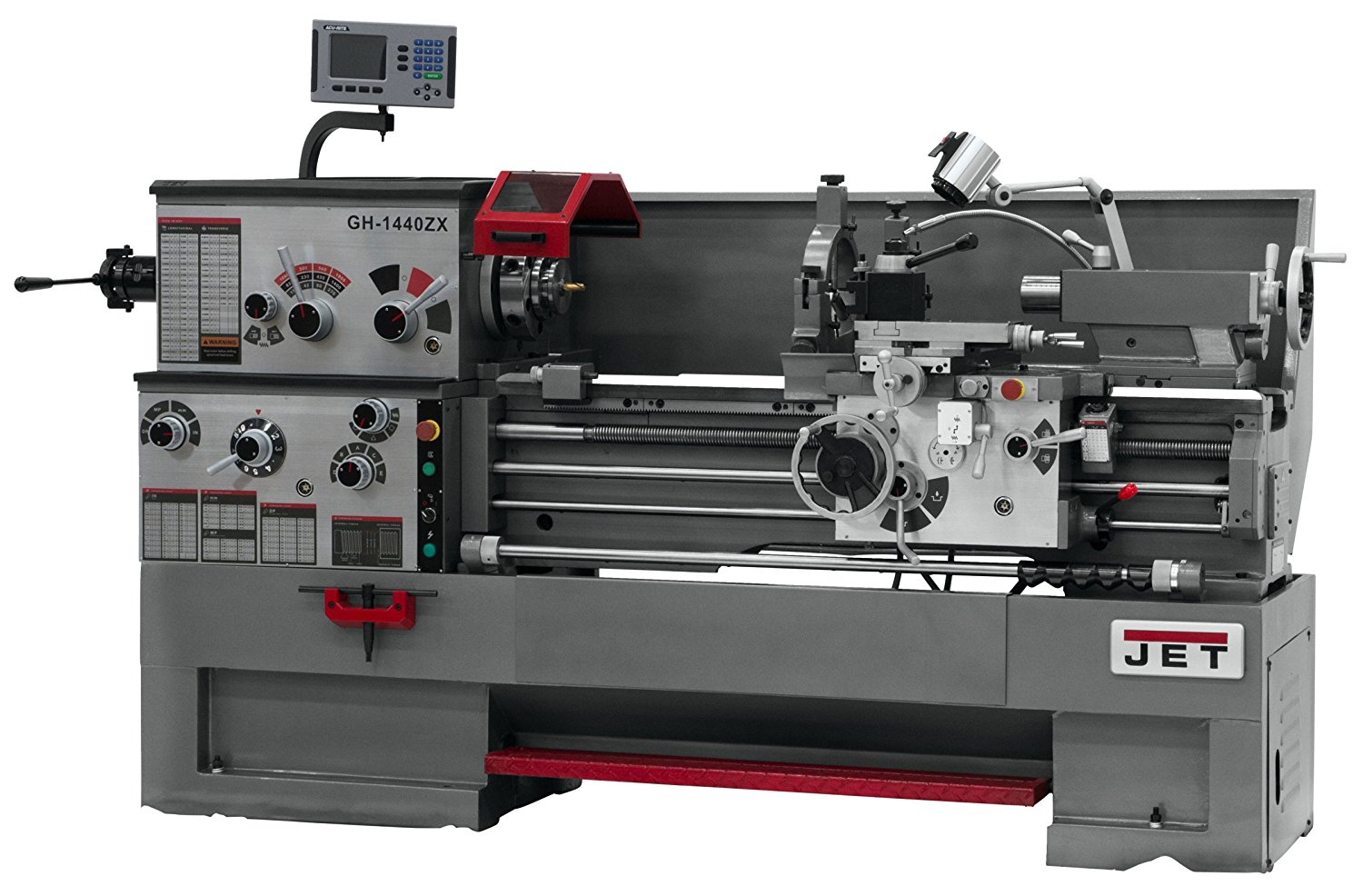 JET GH-1440ZX Lathe with ACU-RITE 200S DRO and Taper Attachment Installed