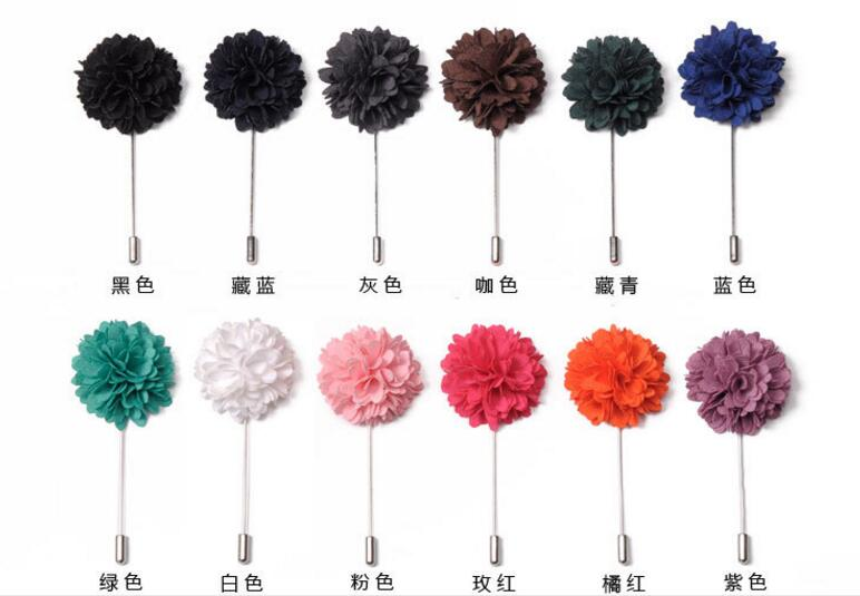 Hot sale flower brooches flower lapel pin for men suit in stock