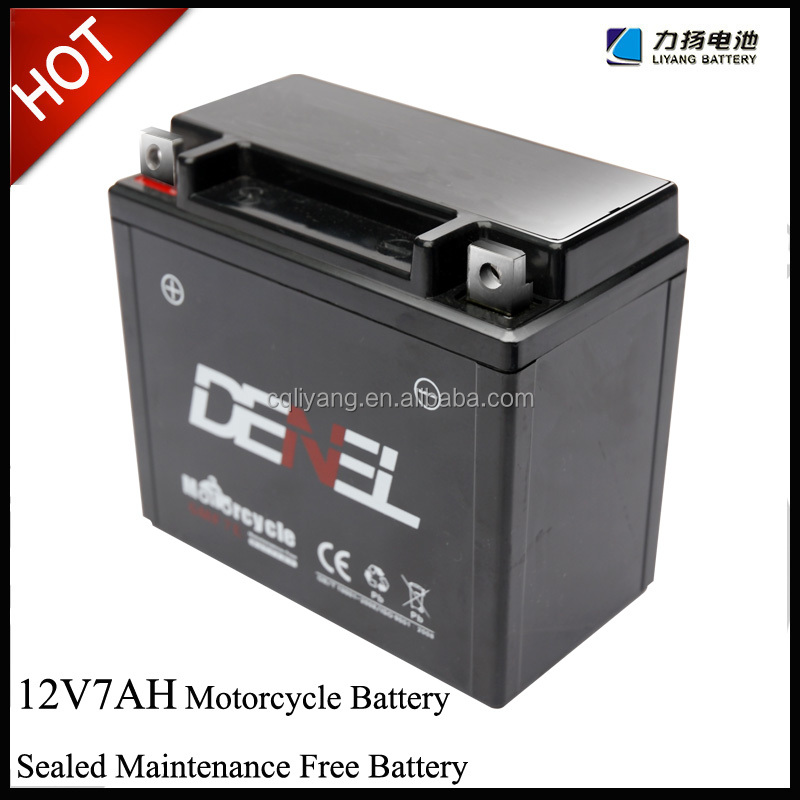 Best price denel brand 12v mf motorcycle battery , 12v7ah battery