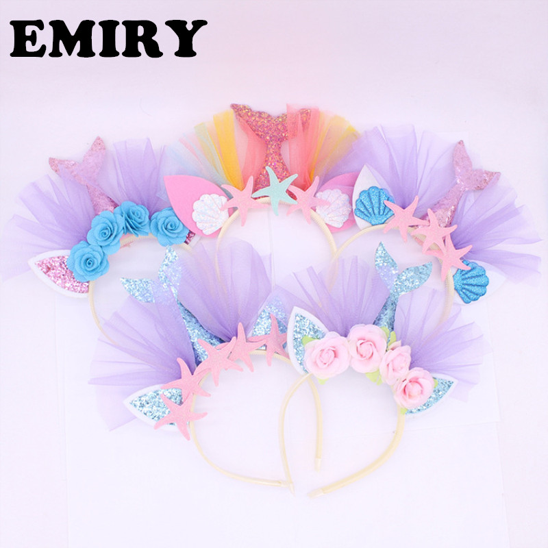 2018 New Girls Birthday Party Flower Mermaid <strong>Headband</strong>