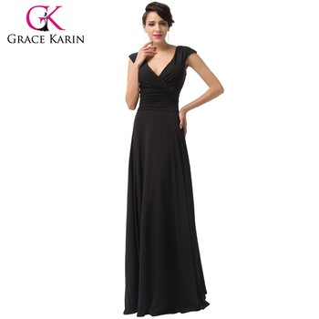 Women\'s Best Black Long Evening Dresses Grace Karin Deep V-neck ...