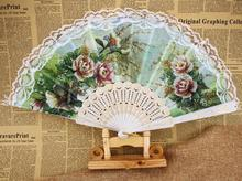spain fan hand held folding fan flower Polyester cloth fan plastic