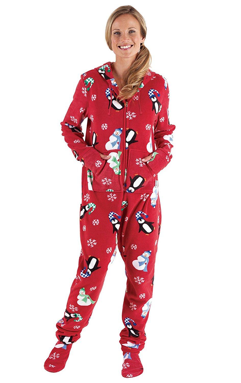 Get Quotations · PajamaGram Women s Hoodie-Footie Fleece Onesie Pajamas 75886cef5f