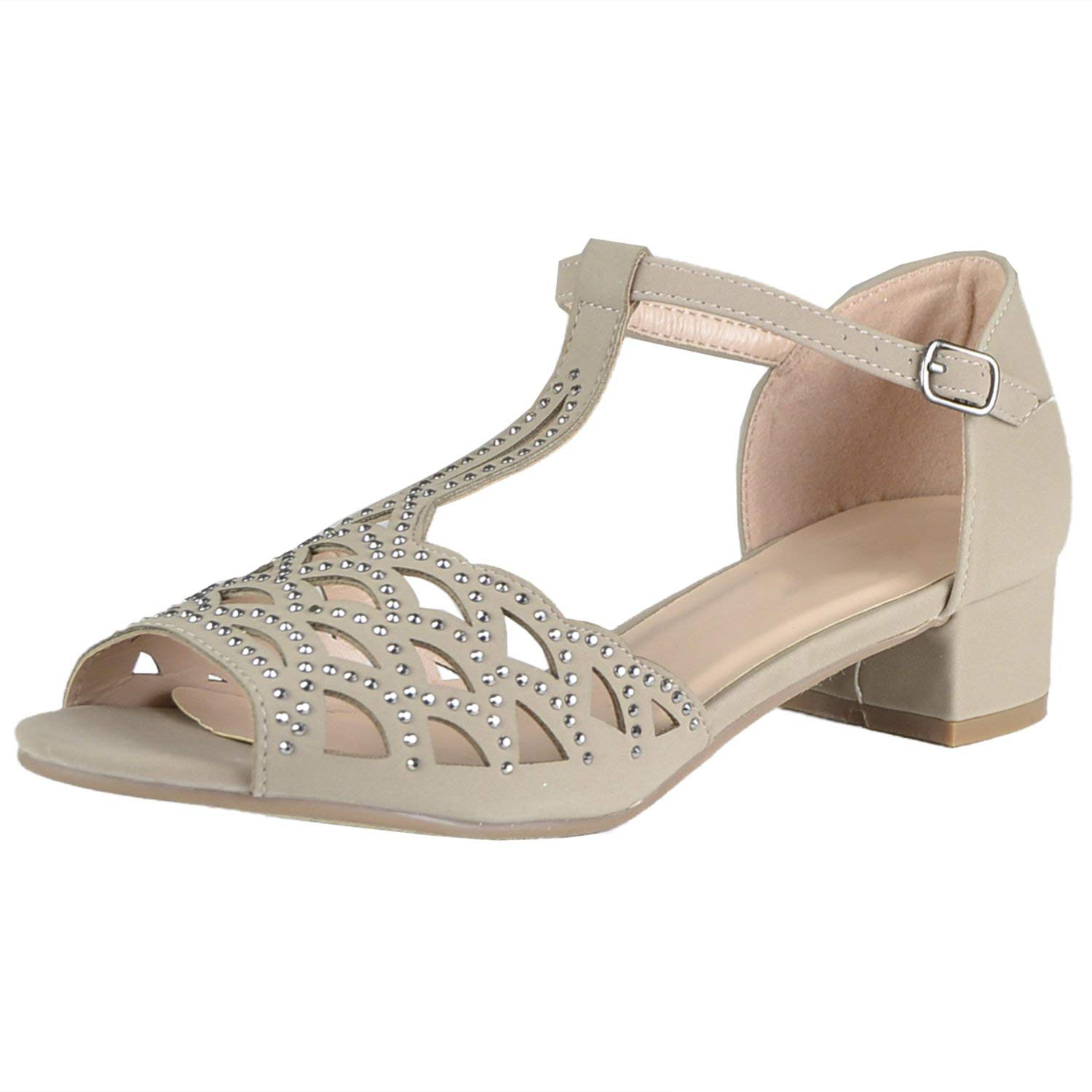 BDshoes Dream Feather Rhinestone Low Heel Dress Shoe Sandals for Little Girl Assorted Colors Black White Pink Taupe