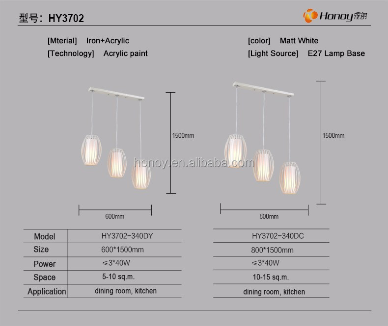 3 years warranty home lighting E27 3 heads round suspending light acrylic chandelier for living room