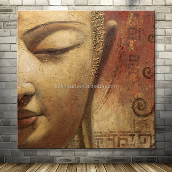 Indian Buddha Face Canvas Oil Painting For Home Decoration