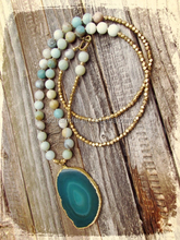 N00274 Amazonite Small Faceted Beaded Necklace Long Bohemia Necklace