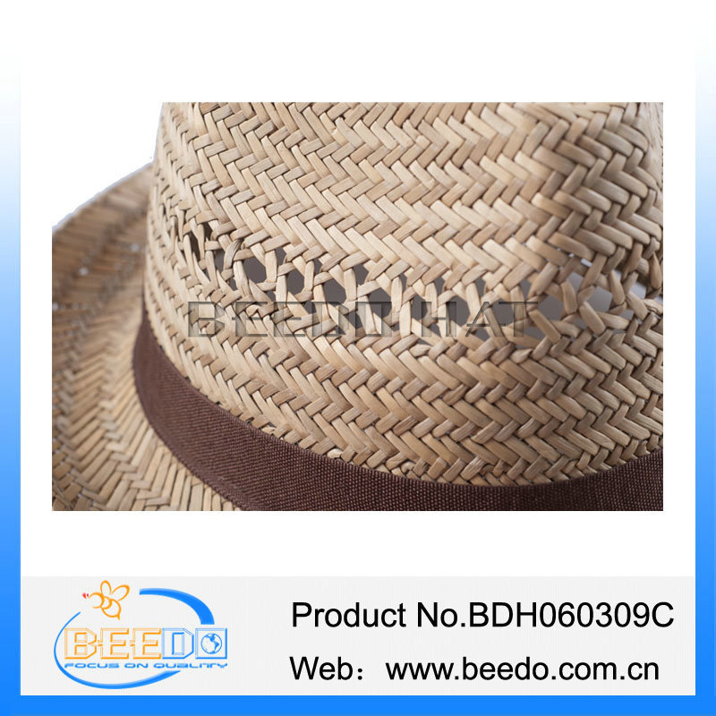 Fashion design adult fedora hollow straw hat with polyester grosgrain ribbon
