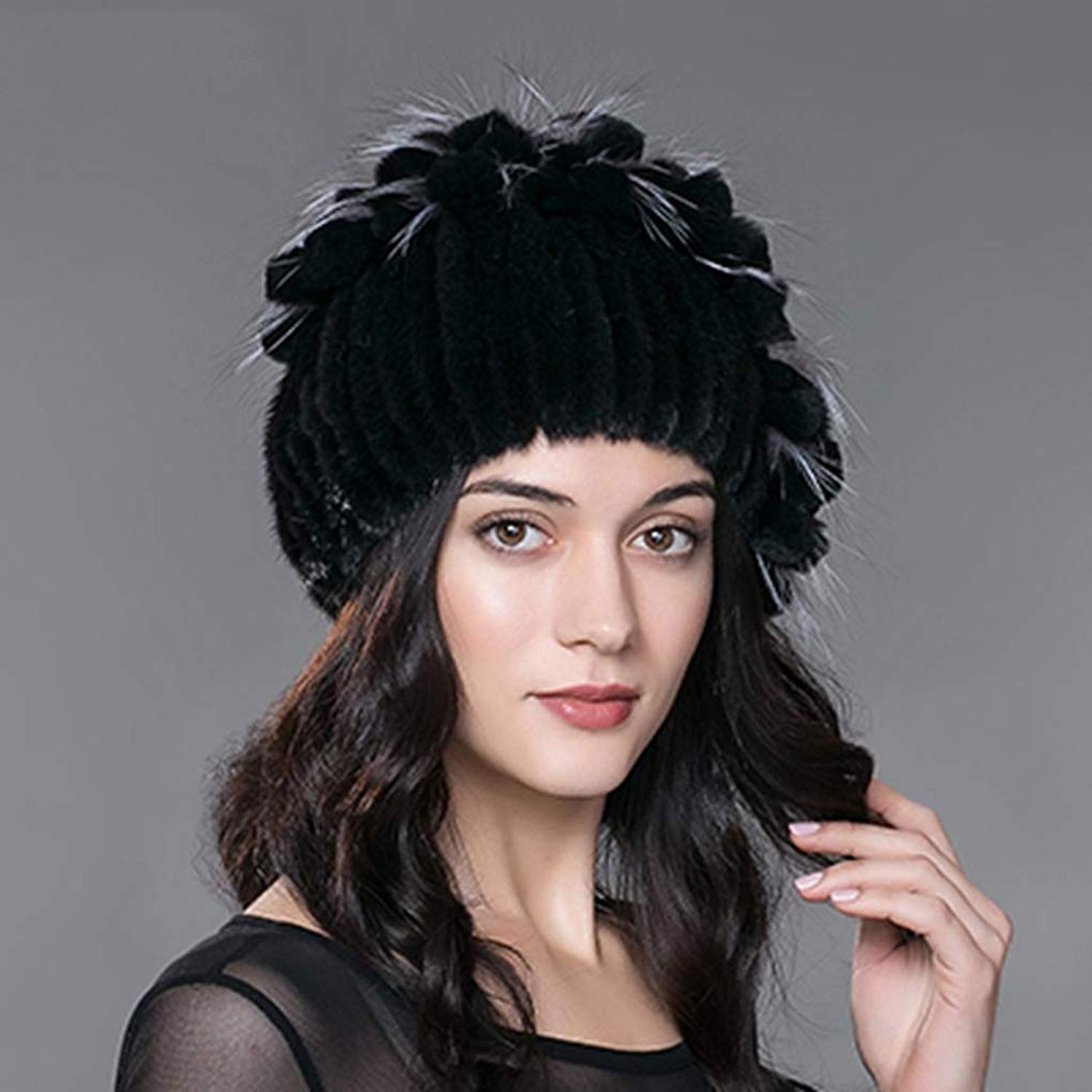 1959951d045 Get Quotations · Winter Women Hats Real Fur Hat for Winter Knitted with  Natural Mink Rabbit Fur Hats Fashionable