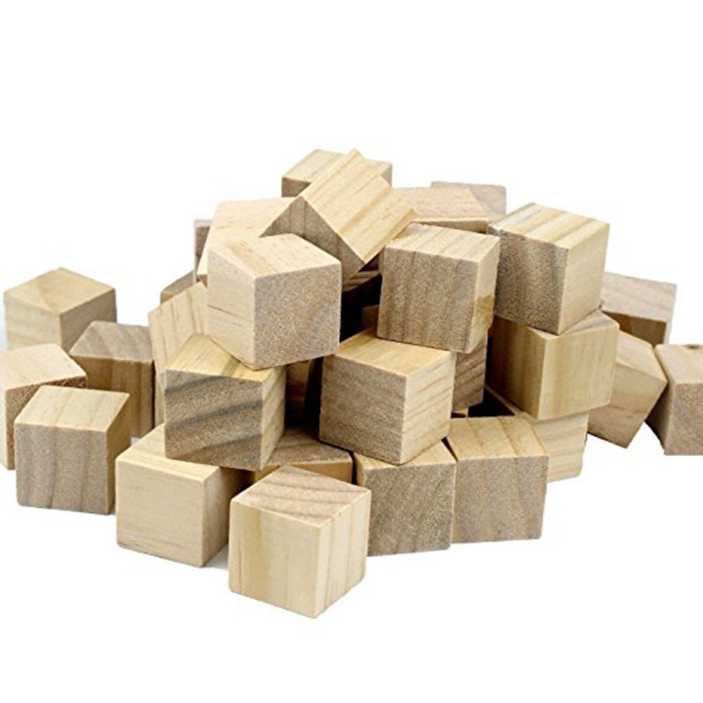 WINGONEER 100PCS Wooden Cubes - 20mm- Wood Square Blocks For Puzzle Making, Crafts & DIY Projects