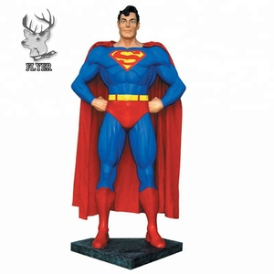 Outdoor fiberglass life size superman statue