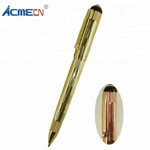 ACMECN Brass Gold Ball Pen Classic Luxury Office Writing Mini Pen Engraving Drafting Design 42g Metal Heavy Custom Logo Pen