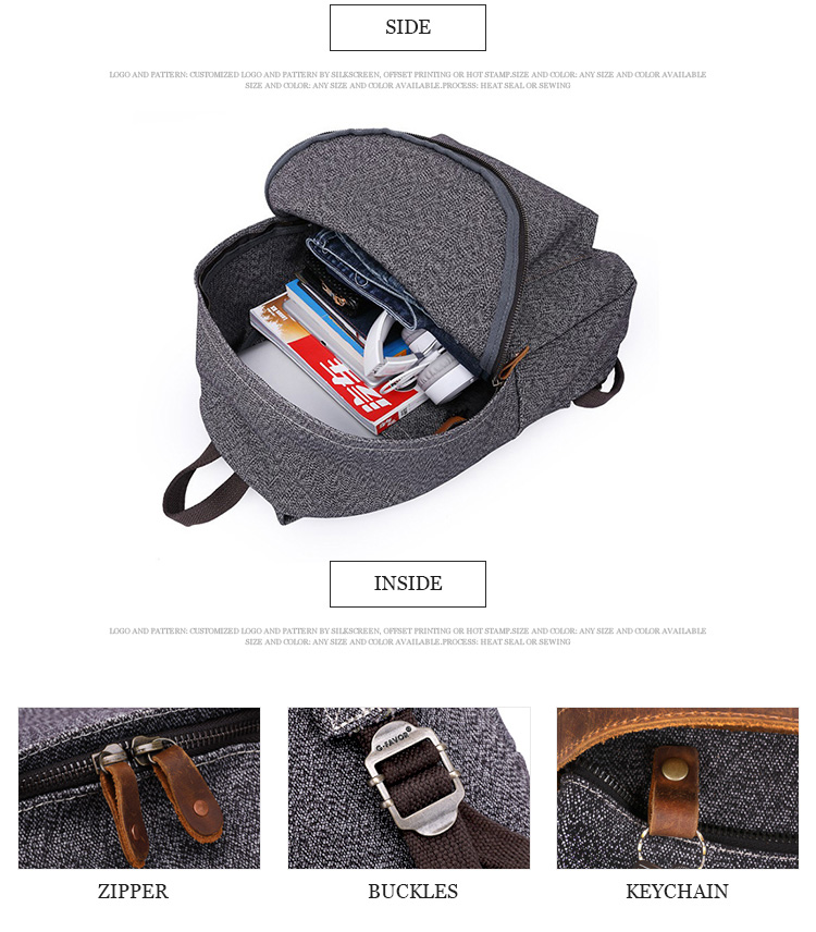 China manufacturer supply men's bagpack fashion style laptop cheap canvas popular backpack