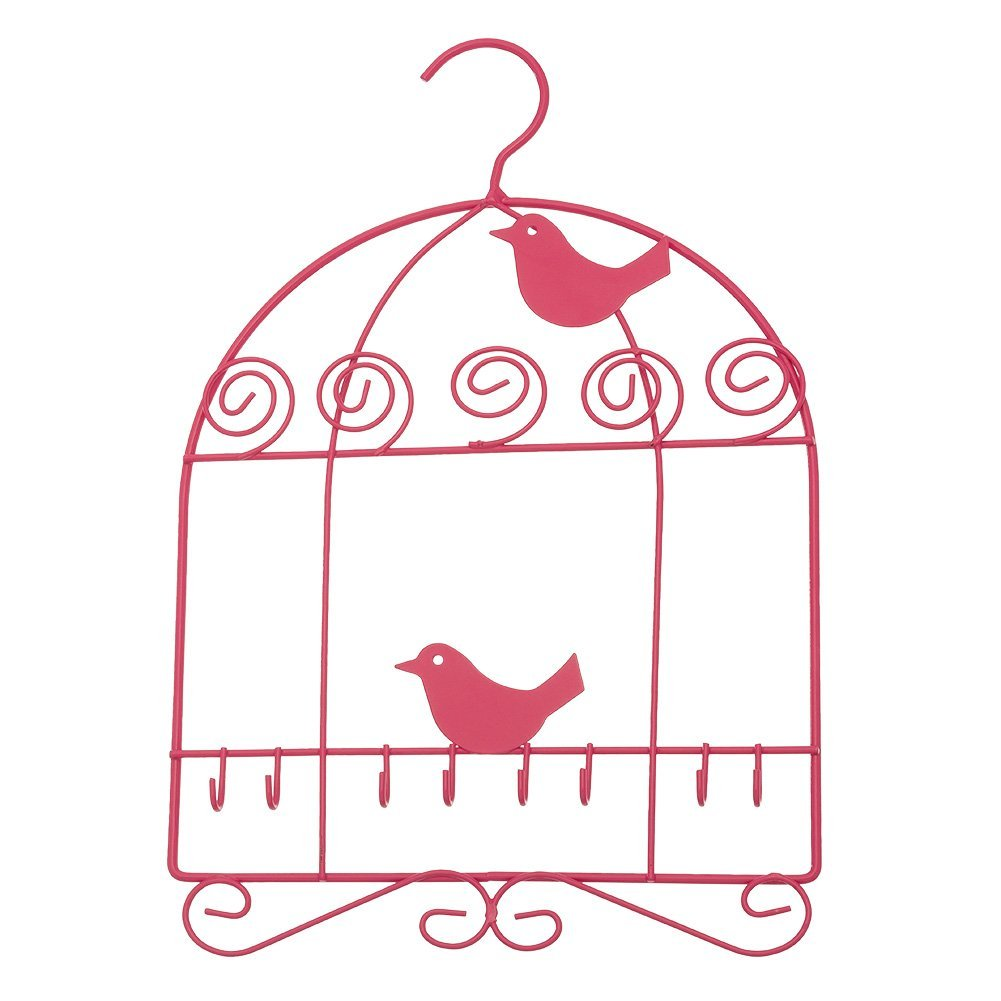 Get Quotations · Multi Hook Hanging Closet Jewelry Organizer ~ Jewelry  Hanger (Fuchsia Birdcage)
