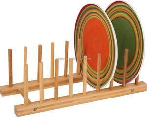 Dinner plate racks Bamboo Slanted Plate Drying Rack
