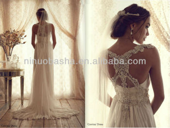 Glamorous Empire Sheath Wedding Dresses 2014 New Arrival Chiffon Beaded Bridal Gown Maternity Wears NB0191