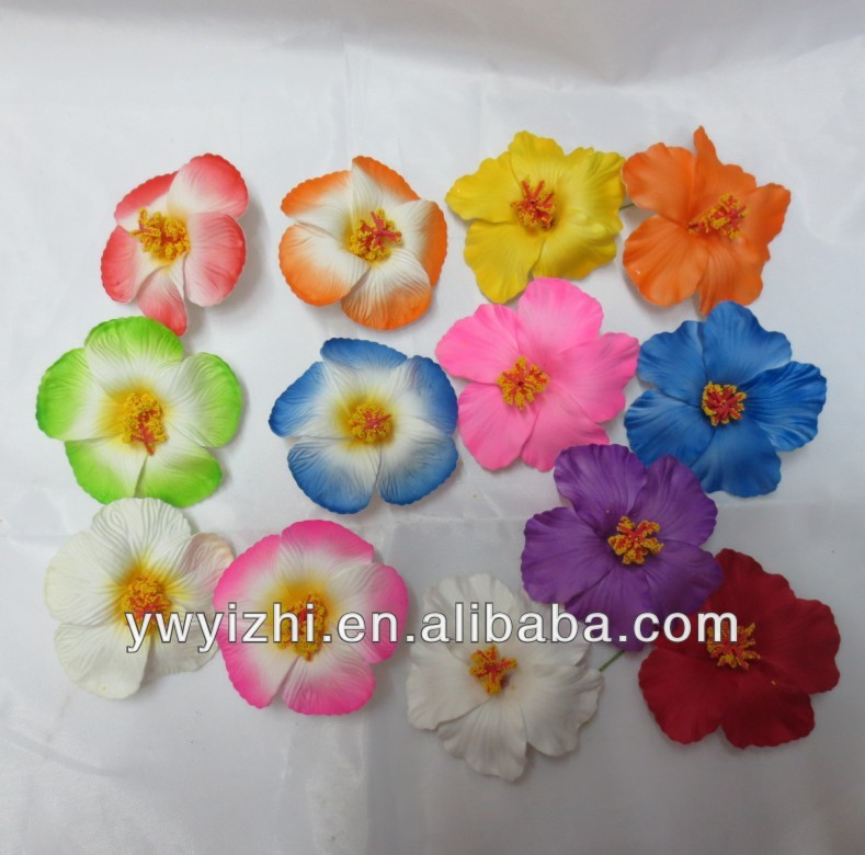 artificial pe hibiscus flowers with metal clip for children s hair