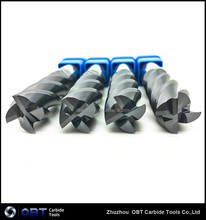 tungsten carbide various dia 5 flute sqr coated tialn carbide finisherend mills copper coating