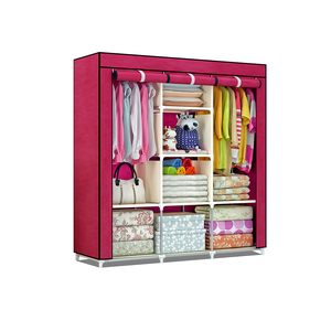 Folding Reinforcement 3 Rolling Door Fabric Clothes Textile Wardrobe Closet Large Simple Cabinets