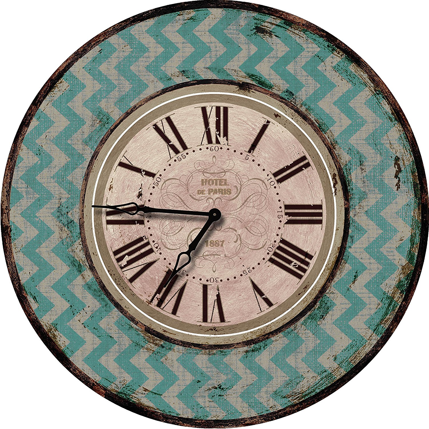 24 Teal Chevron Large Wall Clock Oversized Clocks Decorative Perfect For Antique