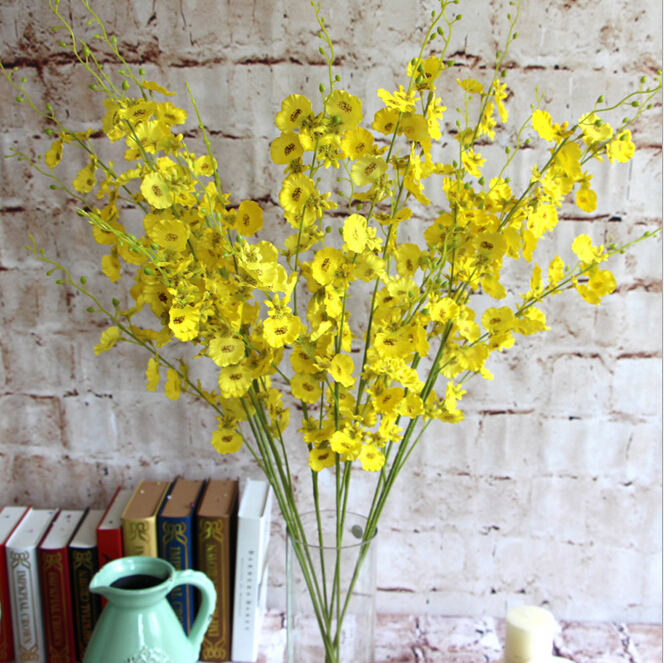 FLOK100 GNW Yellow fake dendrobium and artificial flower for grave arrangement hanging garland
