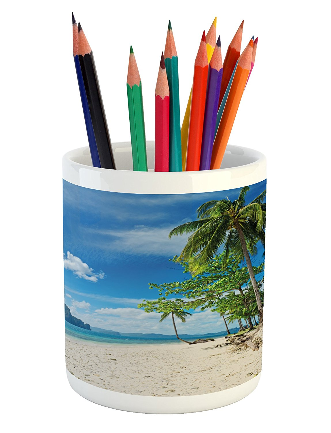 Landscape Pencil Pen Holder by Ambesonne, Exotic Botanic Island Near Seashore Palms Mountains Clear Open Sky Photo, Printed Ceramic Pencil Pen Holder for Desk Office Accessory, Blue Cream Green