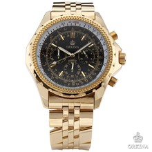 Fashion ORKINA Stainless Steel Case Chrono Black Men's Sport Quartz Watch