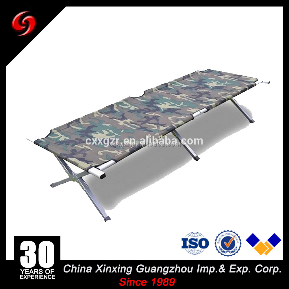 Hot sale of aluminum steel single army cot hiking canvas military folding camping bed