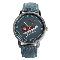 Most Popular Products Gray Color Leather Watch Geneva Watches Cheap Man Watch