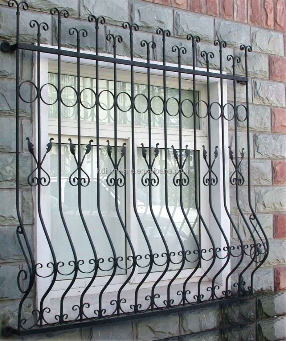 Beautiful low carbon q235 steel window grill design house for Metal window designs