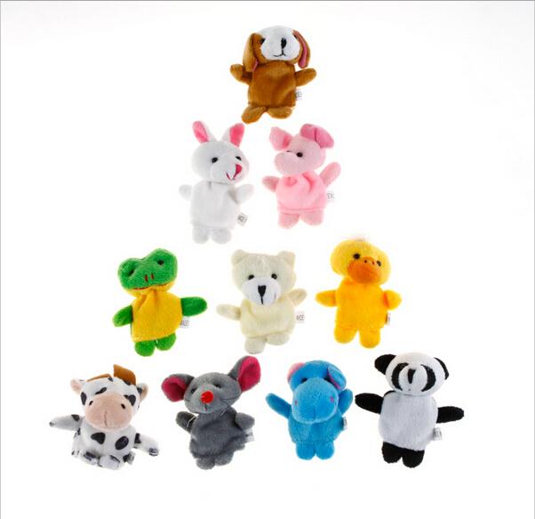 10 Pcs Family Finger Puppet Cloth Doll Baby Educational Hand Cartoon Animal Toys